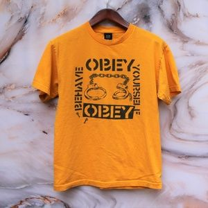 Obey Behave Yourself Handcuff Yellow Tee Sz M